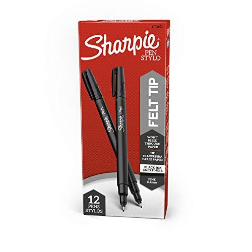 Sharpie Felt Tip Pens, Fine Point, Black, 12 Count