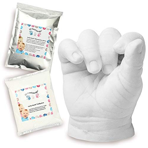 Lucky Hands® Huellas en 3D | Improntas Mano | Idea de Regalo para el Día de la Madre (0-6 Meses | sin Accesorios, 4-6 moldes)