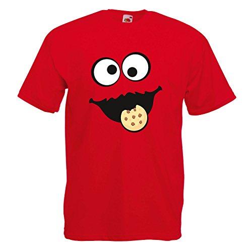 Shirt-Panda Herren Unisex T-Shirt Keksmonster Krümelmonster Gruppen Kostüm Karneval Fasching Verkleidung Party JGA Red 2XL
