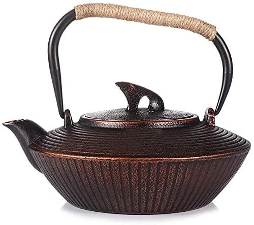 Tetera de hierro fundido, hervidor de té, hierro fundido, tetera de hierro fundido japonés con infusor para té suelto y bolsitas de té, hervidor de té y tetera para la cocina superior, Browen, 1.2L