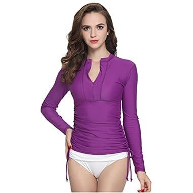ILISHOP Women's UV Sun Protection Long-Sleeve Rash Guards Purple M-US6