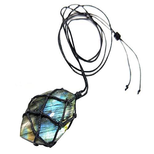 AMOYER Collar De La Energía 1pc Dragones del Corazón Labradorita Collar De Piedra Natural Colgante Wrap Trenza Yoga Macrame Hombres Mujeres