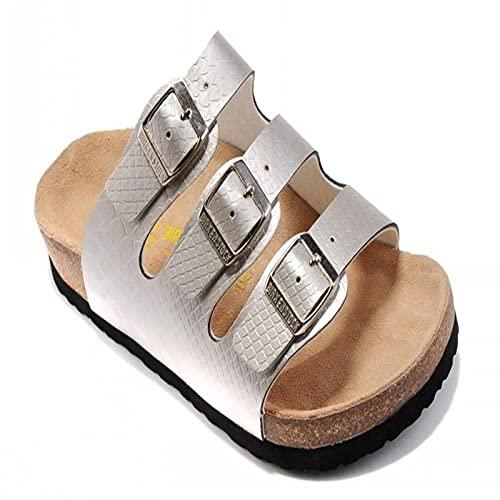 COQUI Mules cuñas,Sandalias de Verano Zapatos de Madera Blanda Plana Zapatos de Playa para Hombres de Tres hileras Moda Casual sintonización en frío Zapatos de Mujer-Plata_46