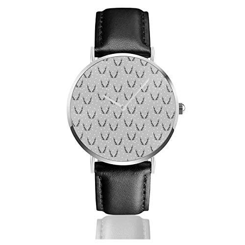 Reloj de Pulsera Reloj de Cuarzo Astas Triángulos Grises Geo Geometric Kids Baby Antler Relojes Casuales con Reloj de Cuero Negro