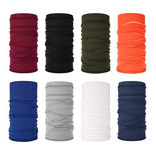 Clyhon - Turbante multifuncional sin costuras, 8 piezas de tubo elástico, diadema, bufanda, leggings, pasamontañas, máscara anti-UV, adecuado para yoga, correr, senderismo, ciclismo