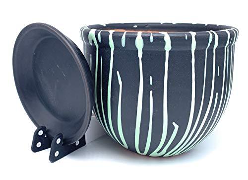 Pot de Fleurs en céramique Verni avec Soucoupe Ronde en Terre Cuite avec bac d'égouttement Pot de Fleurs en Argile Couleur Standard, Black/Mint Stripes, 12cm x 10cm