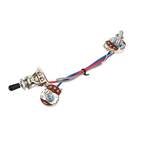 Kit de cableado de circuito de guitarra, conmutador precableado, 1 volumen, 1 tono, interruptor de balancín de 3 vías, 500 K para guitarra LP eléctrica de doble circuito electrónico de doble circuito.