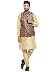 ABH LIFESTYLE Mens Kurta Pyjama And Waistcoat set
