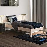 Holzbett 90x200 cm Kaja Scandi Style mit Rollrost aus unbehandeltem hartem FSC Birken Massivholz - über 700 kg - Einzelbett Bettgestell mit Kopfteil - Kinderbett Jugendbett Gästebett