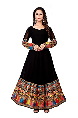 Fashion Web Women's Georgette Embroidered Semi-Stitched Anarkali Gown