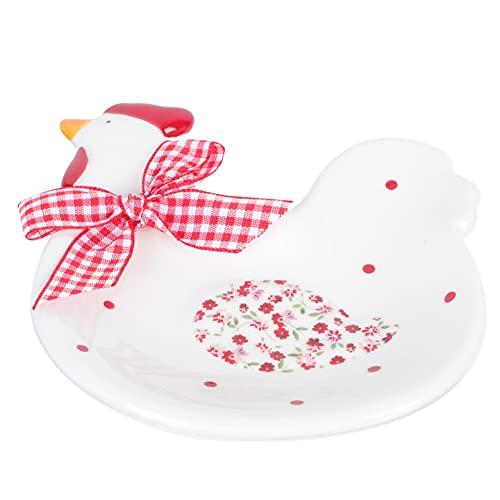 cabilock para Servir Comida de Porcelana en Forma de Gallo con Pajarita para Servir Ensalada Vajilla de Porcelana para Aperitivos Aperitivos de Carne