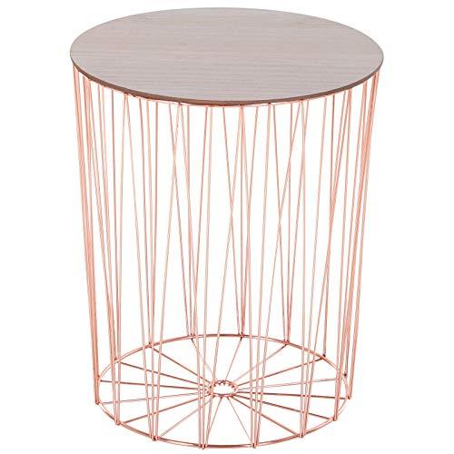 HOMCOM Modern Design 2 Pack Bedside Table W/Storage Sofa End Side Night Stand Bedroom Living Room Furniture Versatile Use - Rose Gold Color Base
