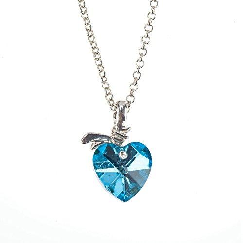 VAGA - Collar Colgante en Forma de corazón de Cristal Azul y Cadena de Color Plateado