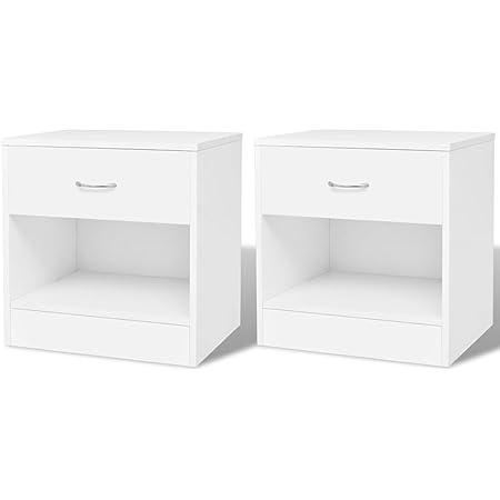vidaXL 2 Tables de Chevet avec tiroir Table de Nuit Support pour téléphone Blanc