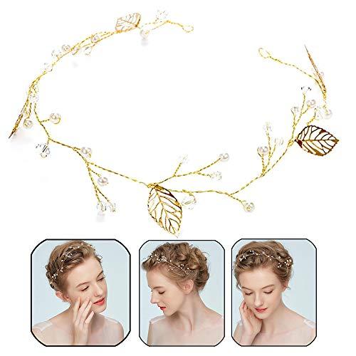 Xinlie Haardraht Hochzeit Haarschmuck Haardraht Perlen Strass Brautschmuck Braut Strassbesatz Haarband Stirnband mit Kristall Kopfschmuck Kopfabdeckung Für Frauen Mädchen auf Hochzeit Party