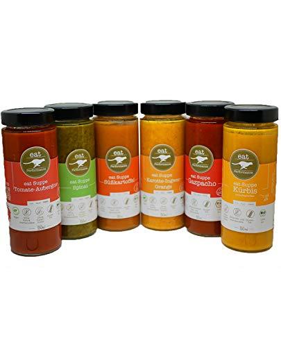 eat Performance® Mixed Soup Box (6 Sorten 350ml) - Bio, Paleo, Vegan, Glutenfrei, Laktosefrei, Ohne Zuckerzusatz, Aus 100% Natürlichen Bio Zutaten