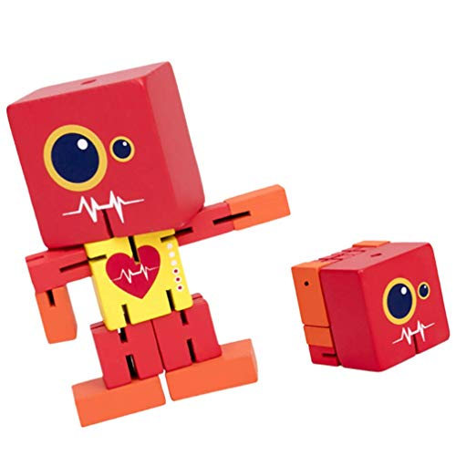 Blocs de Construction en Bois de 1pc Jouet Robot Jouet Creative Robot Personnage Set Toy Robot Block Jouet Puzzle Robot Éducatif Stet Toys TINGG (Color : Red)