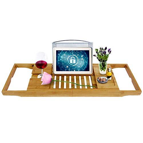 UISEBRT Bambus Badewannenablage Badewannenregal verstellbar - Badewannen ablagen für Ipad, Smartphone, Weinglas, Buch - 70 x 23 x 3,5 cm