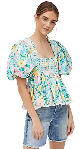 Hemant and Nandita Women's Floral Top, Green, Small