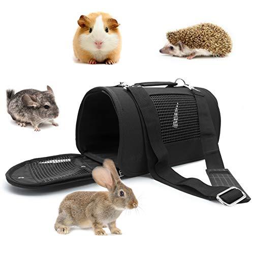 LeerKing Transportbox für Kleintiere Transporttasche faltbar Katzenbox Tragetasche Träger für Welpen Kaninchen Ratte Frettchen Chinchillas Hamster Meerschweinchen Mäuse Nager Schwarz S