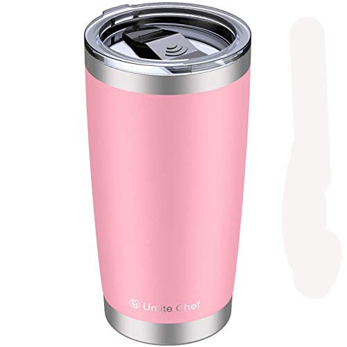 Umite Chef 20oz Tumbler, Stainless Steel Vacuum Insulated Double Wall Travel Mug Tumbler with Splash Proof Sliding Lid , Durable Insulated Coffee Mug, Rose Gold, Thermal Cup (Pink)