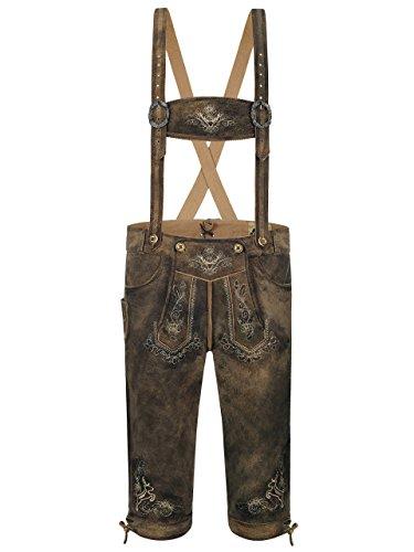 Almbock Lederhosen Tracht Herren - Wildbock-Lederhose braun mit Schnürung am Beinabschluss - Trachtenhose Herren 3/4 - Lederhose Herren antik 52