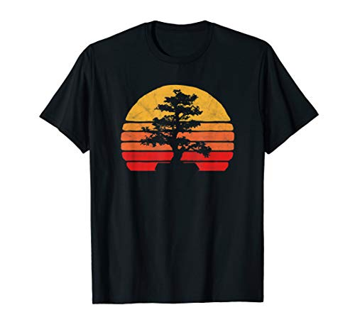 Retro Sun Minimalist Bonsai Tree Design Graphic T-Shirt
