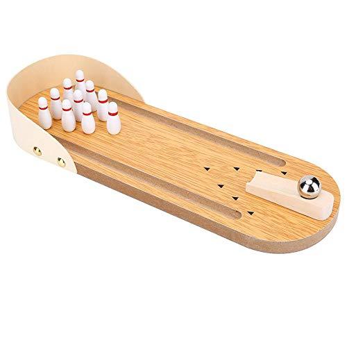 QJJML Mini-Bowling-Spielset, Indoor-Fingerauswurfspiel Aus Holz, Klassisches Interaktives Desktop-Eltern-Kind-Lernspielzeug, Brettspiele FüR Kinder Und Erwachsene