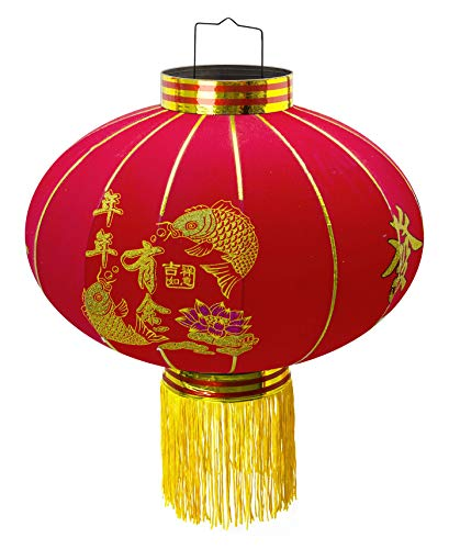 Trango LT500-01 chinesische Laterne Pendel, 50cm Durchmesser aus Stoff für Innen & Außen I Rote Laterne I Glück Laterne I Chinese New Year Lantern, Rote Lampion, Hochzeit Laterne, Party Laterne