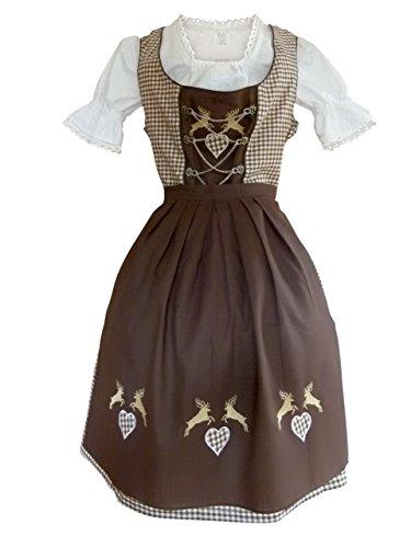 Damen-Dirndl Di18bw midi Gr.46, 3 TLG. Trachten-Kleid braun-weiß mit -Schürze und Dirndel-Bluse für Oktober-Fest