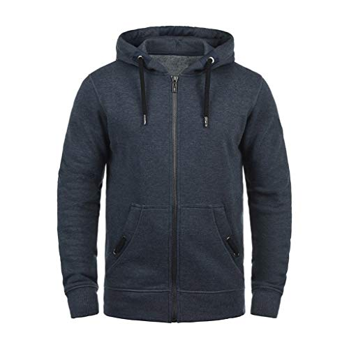 Alalaso Men's Lightweight Sweatshirt Zip Up Fleece Lined Hoodie with Split Pocket Navy