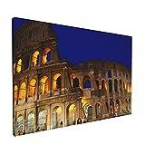 PATINISA Cuadro en Lienzo,Anfiteatro azul Coliseo romano Noche Roma Arco famoso Arqueología Arquitectura Copia Ciudad Flavia,Impresión Artística Imagen Gráfica Decoracion de Pared