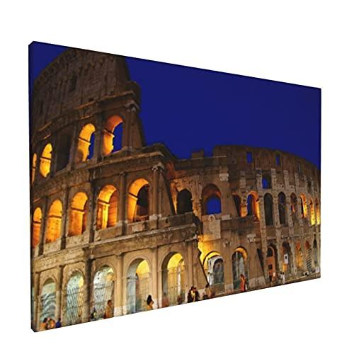 Arte de pared,Anfiteatro Azul Coliseo Romano Noche Roma Fam,pinturas al óleo enmarcadas impresas en lienzo Obra de arte moderna para sala de estar dormitorio decoración de pared de oficina