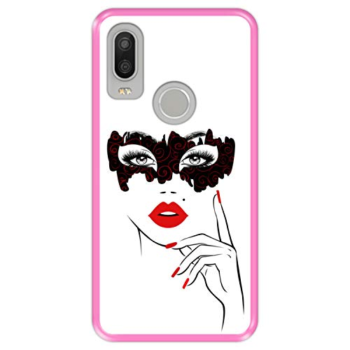 Hapdey Funda Rosa para [ Bq Aquaris X2 - X2 Pro ] diseño [ Fiesta de Disfraces, Rostro Mujer con Labios Rojos ] Carcasa Silicona Flexible TPU