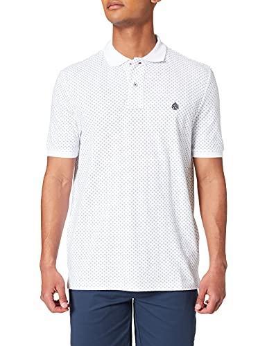 Springfield Polo Estampado All Over Camiseta, Blanco, L para Hombre