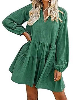 FANCYINN Women Shift Tunic Ruffle Dress Long Lantern Sleeves Babydoll V Neck Swing Mini Dark Green Cocktail St Patricks Day Dress M