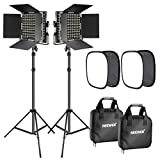 Neewer 2 Pieces Bi-color 660 LED Video Light with Stand and Softbox Kit:...