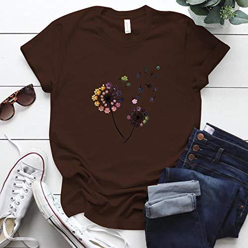 Women T-Shirts Farbe Löwenzahn Gedruckt T-Shirt Frauen Plus Size Sommer Lustige T-Shirt T-Shirt Femme Kurzarm Tops Frauen Kleidung L Kaffee