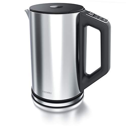Arendo - Edelstahl Wasserkocher mit Temperatureinstellung 40-100 Grad in 5er Schritten - Doppelwand Design - Modell ELEGANT - 1,5 Liter - 2200 W - Teekocher mit Temperaturanzeige - Silber glänzend