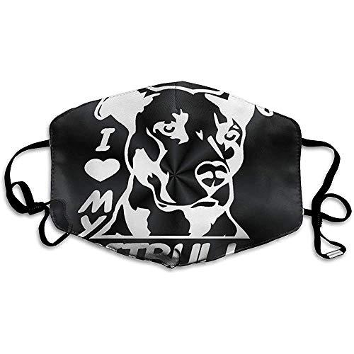 Pitbull Love Clipart Staubmaske, waschbare und Wiederverwendbare warme Winddichte Maske