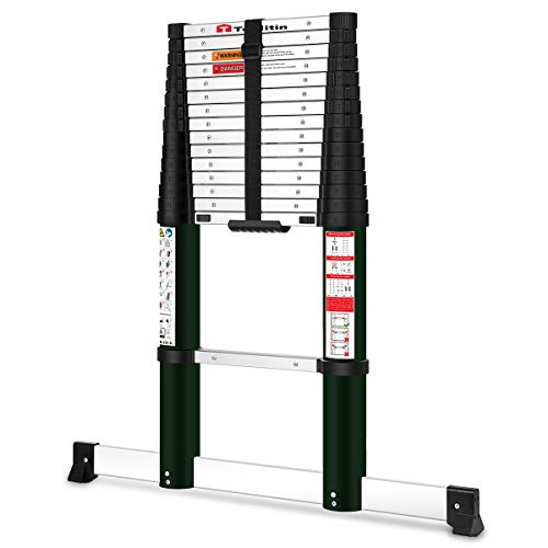 Toolitin 155FT Telescoping Ladder with Stabiliser BarSlow Down Design Aluminum Telescopic Extension Ladder One Button Retraction MultiPurpose Collapsible Ladder 330 Lb Capacity