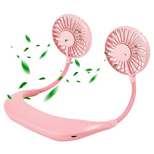 Mini ventilador de cuello USB portátil, manos libres, ventilador de cuello con flujo de aire de 3 niveles de flujo de aire , carga USB , lámpara de aromaterapia multicolor , fuente de refrigeración