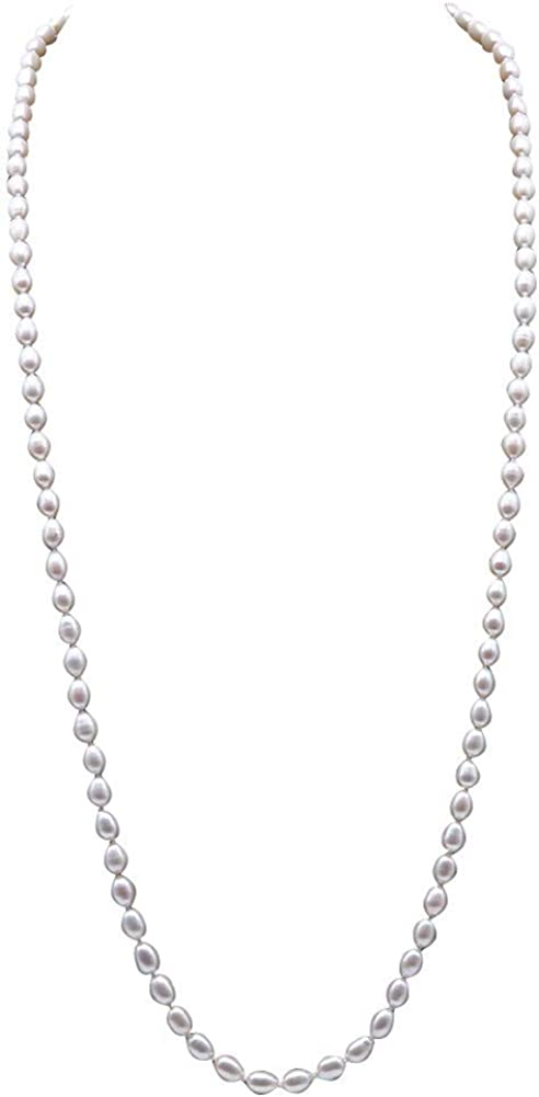 JYX Pearl Long Necklace Classical 6-6.5mm White Oval Freshwater Pearl Sweater Necklace 32