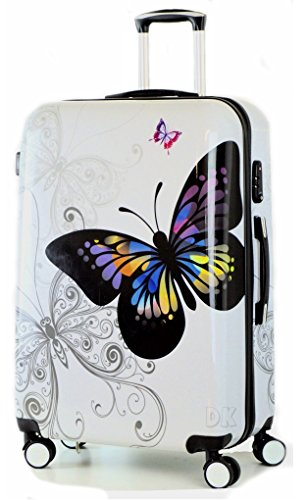 DK Luggage Lightweight ABS Polycarbonate Hardshell Large 28' Suitcases 4 Wheel Spinner Butterfly