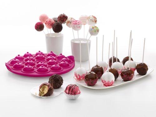 Lékué 0215018R15M017 Cake Pop 18 Cavité Rose Silicone 100 % Platine