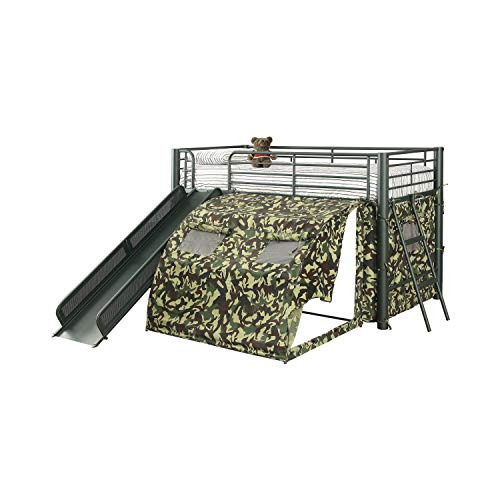 Oates Lofted Bed with Slide and Tent Army Green and...