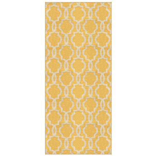 Kapaqua Custom Size Yellow Fancy Moroccan Trellis Rubber Backed Non-Slip Hallway Stair Runner Rug Carpet 31 inch Wide Choose Your Length 31in X 3ft