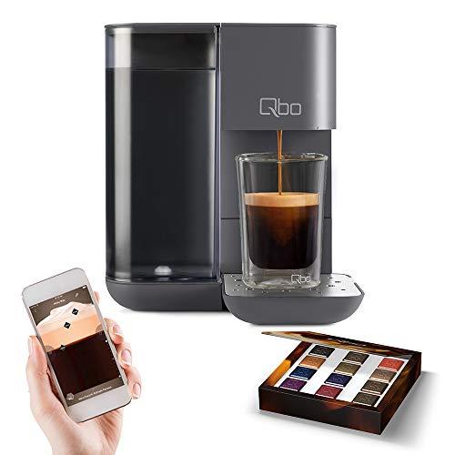 Tchibo Qbo Touch Kaffee Kapselmaschine für Espresso, Caffè und Caffè Grande inkl. 12 Qbo-Kapseln – Amazon Alexa kompatibel, kompaktes Design, 1,3l Wassertank, Basalt Grey (Grau)