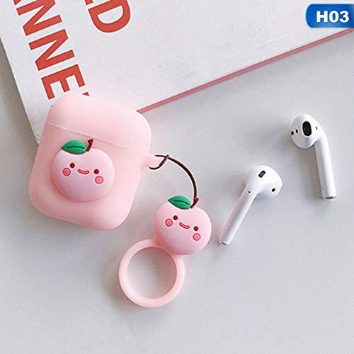 Piner Voor Apple Airpods Aardbei Sleutelhanger Zacht Siliconen Avocado Hoesje Koptelefoon Bluetooth Draadloos Oortelefoon Beschermende huid Cover Box, 3