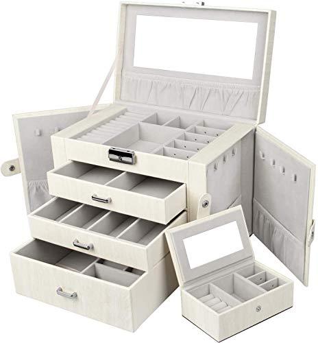 Yorbay Schmuckkästchen, abschließbar mit Spiegel, 3 Schubladen und herausnehmbarer Mini-Box, Seelux Serie Schmuckkasten für Halsketten, Armbanduhren, Ringe, Armbänder, Ohrringe, weiß (Mehrweg)